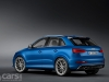 Blue Audi RS Q3 static rear 3/4 view image