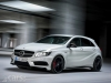 Mercedes A45 AMG white side view road image