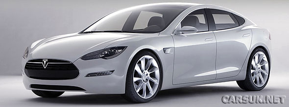 The Tesla Model S, a full sized Electric Saloon car, unveiled in California