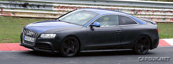 The Audi RS5 with its active boot spoiler on view