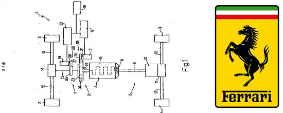 One of the drawings Ferrari has submitted to the European Patent Office for a 4x4 Hybrid System