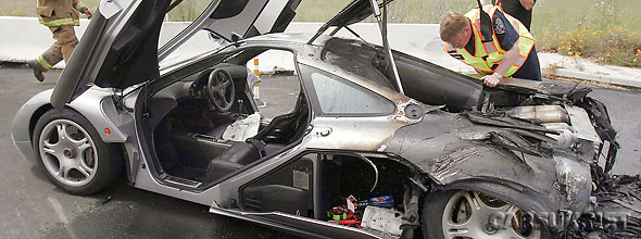 The burnt-out McLaren F1 is on its way back to McLaren in Woking fo repairs