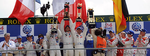 Peugeot drivers celebrate their 1-2 at Le Mans