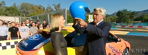 Jay Leno's furst Green Car Challenge with a Focus BEV and Drew Barrymore