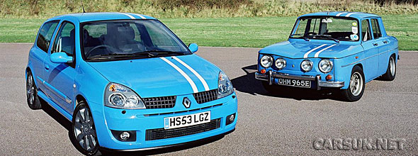 The old Clio Renaultsport with a 1965 Renault Gordini 8