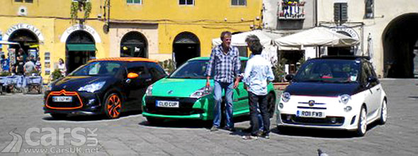 Top Gear in Lucca Italy with DS3 Racing, Clio RS and 500C Abarth