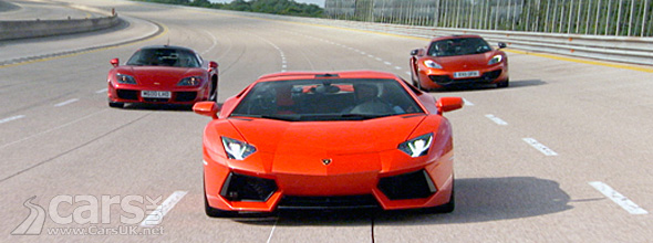 Lamborghini Aventador, McLaren MP4-12C, Noble M600 Top Gear Italy