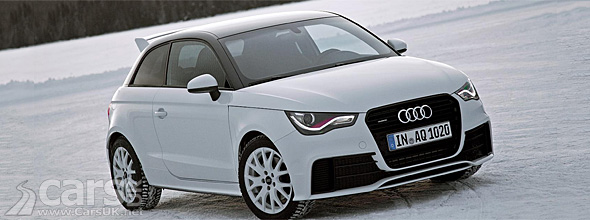 White Audi A1 quattro on snow