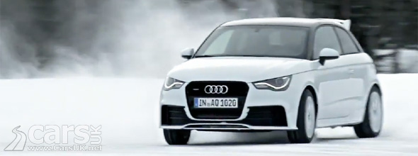Audi A1 quattro driving on snow