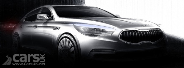 Kia KH flagship saloon disguised with shadows