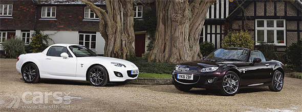 Mazda MX-5 Venture Edition coupe and convertible facing nose on