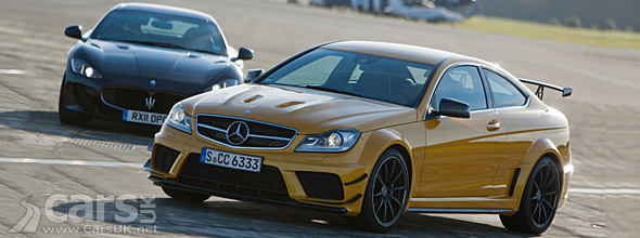 Yellow Mercedes C63 AMG Black and Black Maserati GranTurismo MC Stradale Top Gear