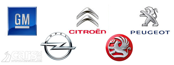 GM, Peugeot, Citroen, Vauxhall & Opel logos