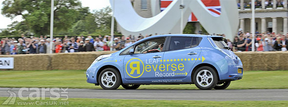 Nissan LEAF reversing on the hillclimb at Goodwood