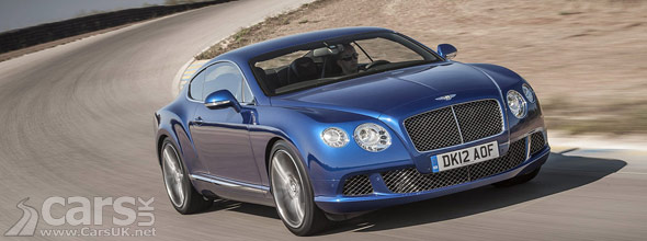 Blue 2013 Bentley Continental GT Speed on track