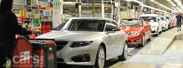 Photo of Saab production line