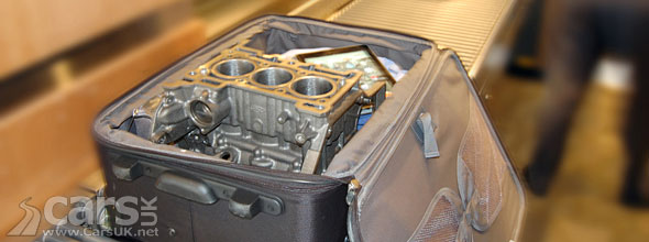 Photo of Ford 1.0 litre EcoBoost engine in a carry-on case