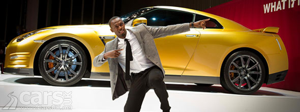 Photo of Usain Bolt and Gold Nissan GT-R