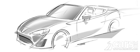 Sketch of FT-86 Open Concept for Geneva, a convertible GT86