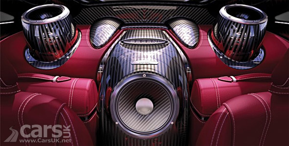 The Pagani Huayra is getting a 12oow Sonus Faber Sound System -  fitted in the back picture