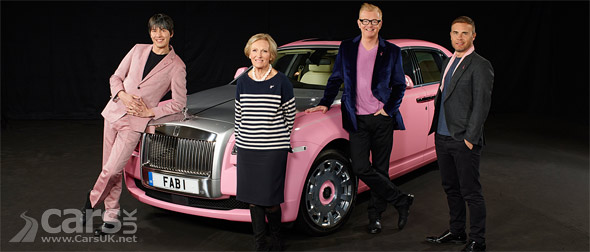 Pink Rolls Royce Ghost with Chris Evans, Brian Cox, Mary Berry and Gary Barlow photo