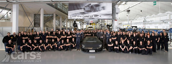 Photo of 2000th Lamborghini Aventador and workforce