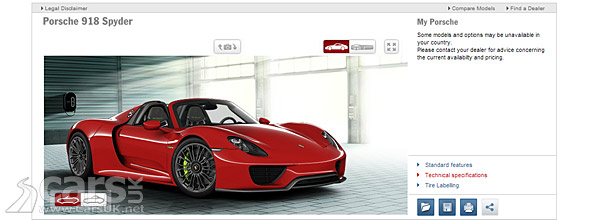 porsche 918 spyder configurator goes live cars uk. Black Bedroom Furniture Sets. Home Design Ideas