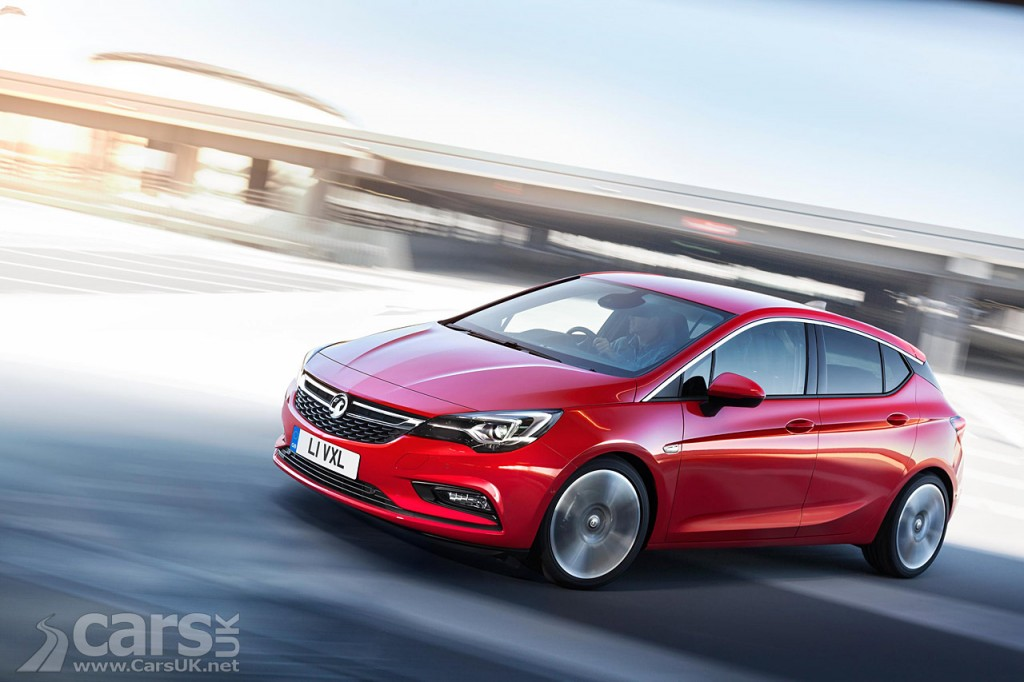 View red 2015/6 Vauxhall Astra on road