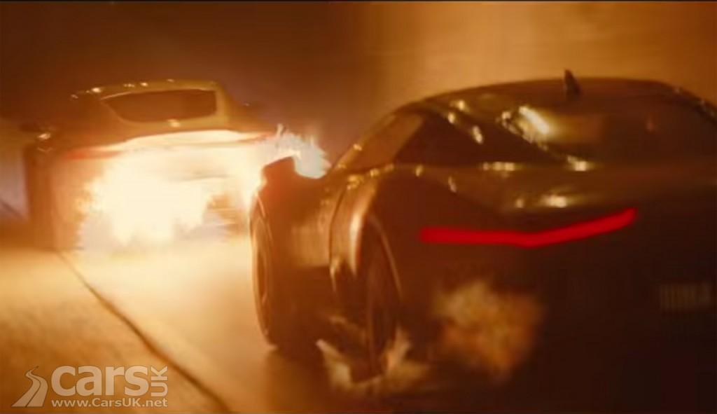 View of Aston Martin DB10 & Jaguar C-X75 flaming in SPECTRE