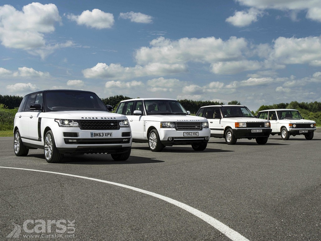 View of four generations of Range Rover