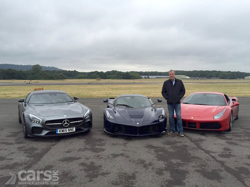 Photo Jeremy Clarkson LaFerrari, Ferrari 488 GTB and AMG GT S at Dusnfold