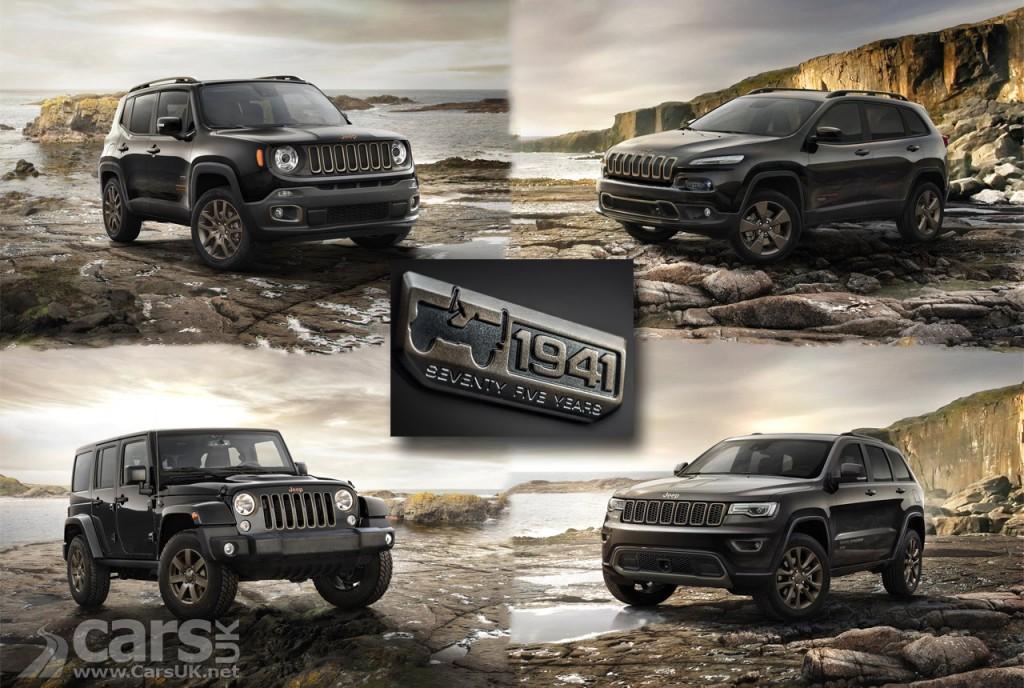 Photo Jeep Renegade, Cherokee, Wrangler and Grand Cherokee 75th Anniversary models