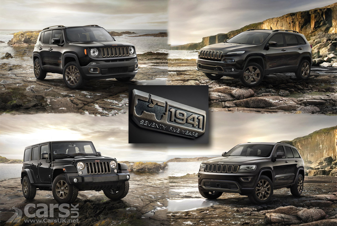 jeep renegade cherokee wrangler and grand cherokee 75th anniversary models revealed cars uk. Black Bedroom Furniture Sets. Home Design Ideas