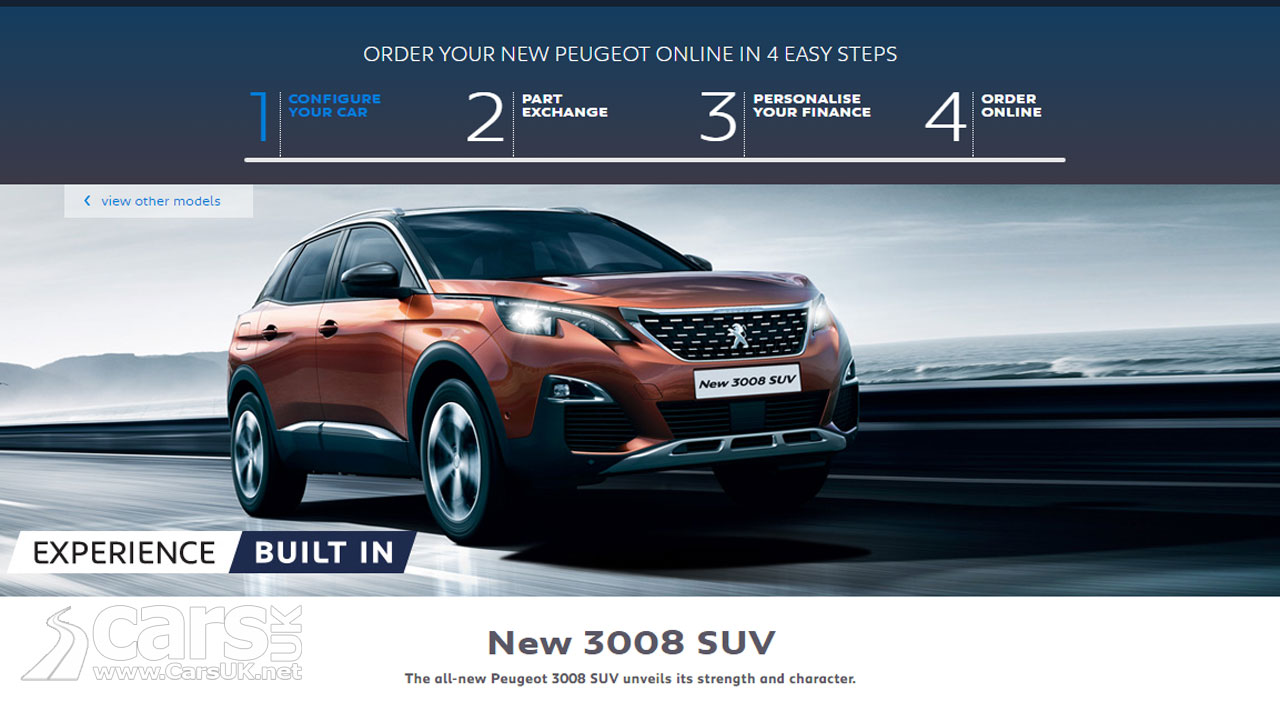 "new peugeot sales in the uk now online with ""order online"