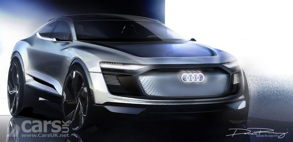 Sketch front New Audi E-tron heading for Shanghai