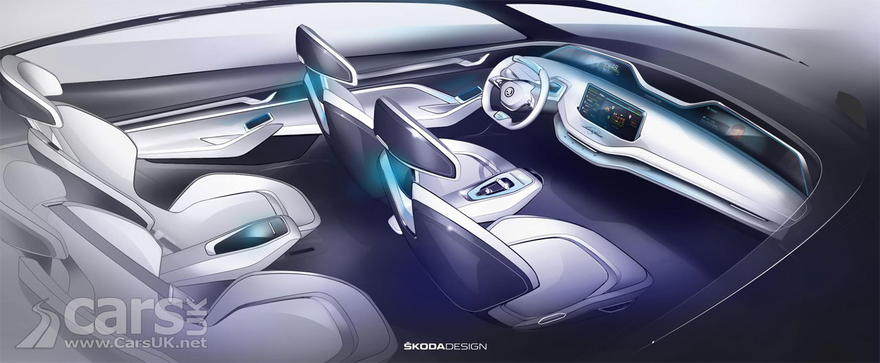 skoda vision e electric concept interior extolled by skoda cars uk. Black Bedroom Furniture Sets. Home Design Ideas