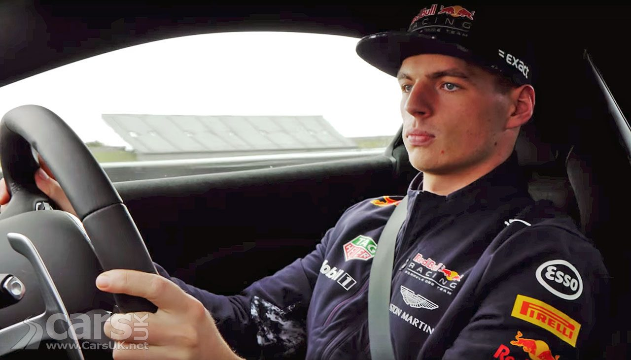 Max Verstappen drives the new Aston Martin Vantage at Rockingham