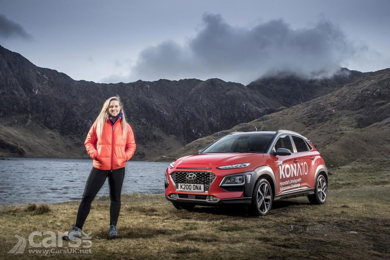 Sophie Radcliffe (pictured with the Hyundai Kona) completes the KONA 10 Challenge