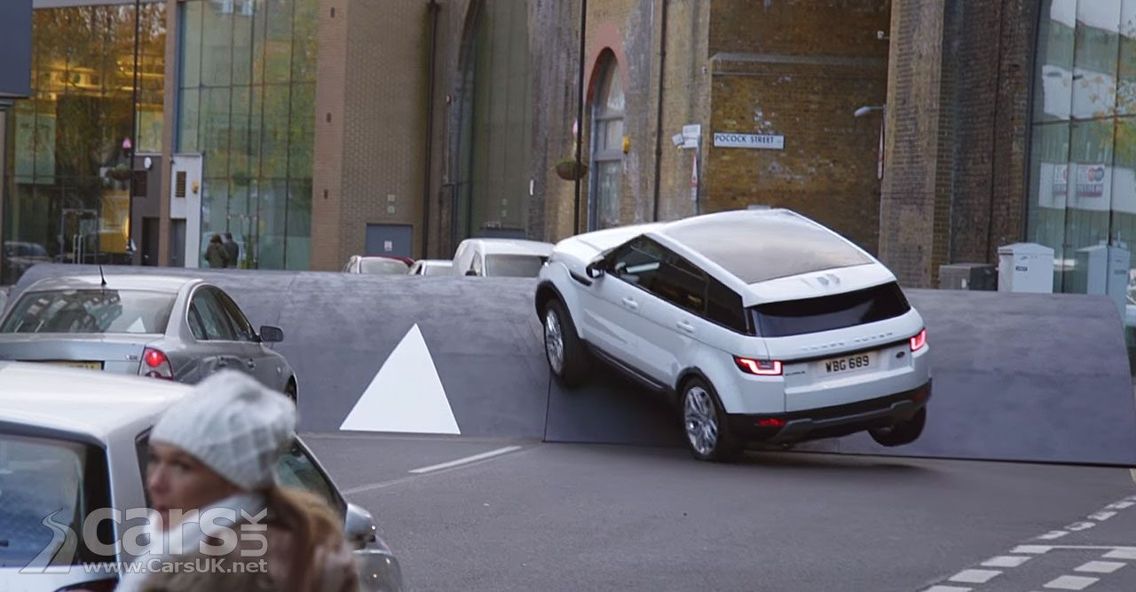 Range Rover Evoque negotiates a giant speed bump in London