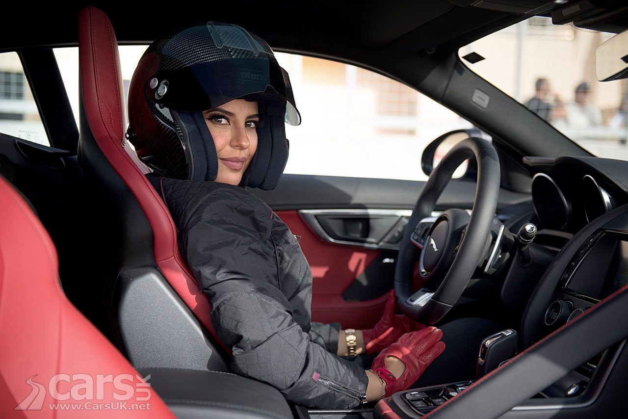 Aseel Al Hamad drives a Jaguar F-Type in Saudi Arabia