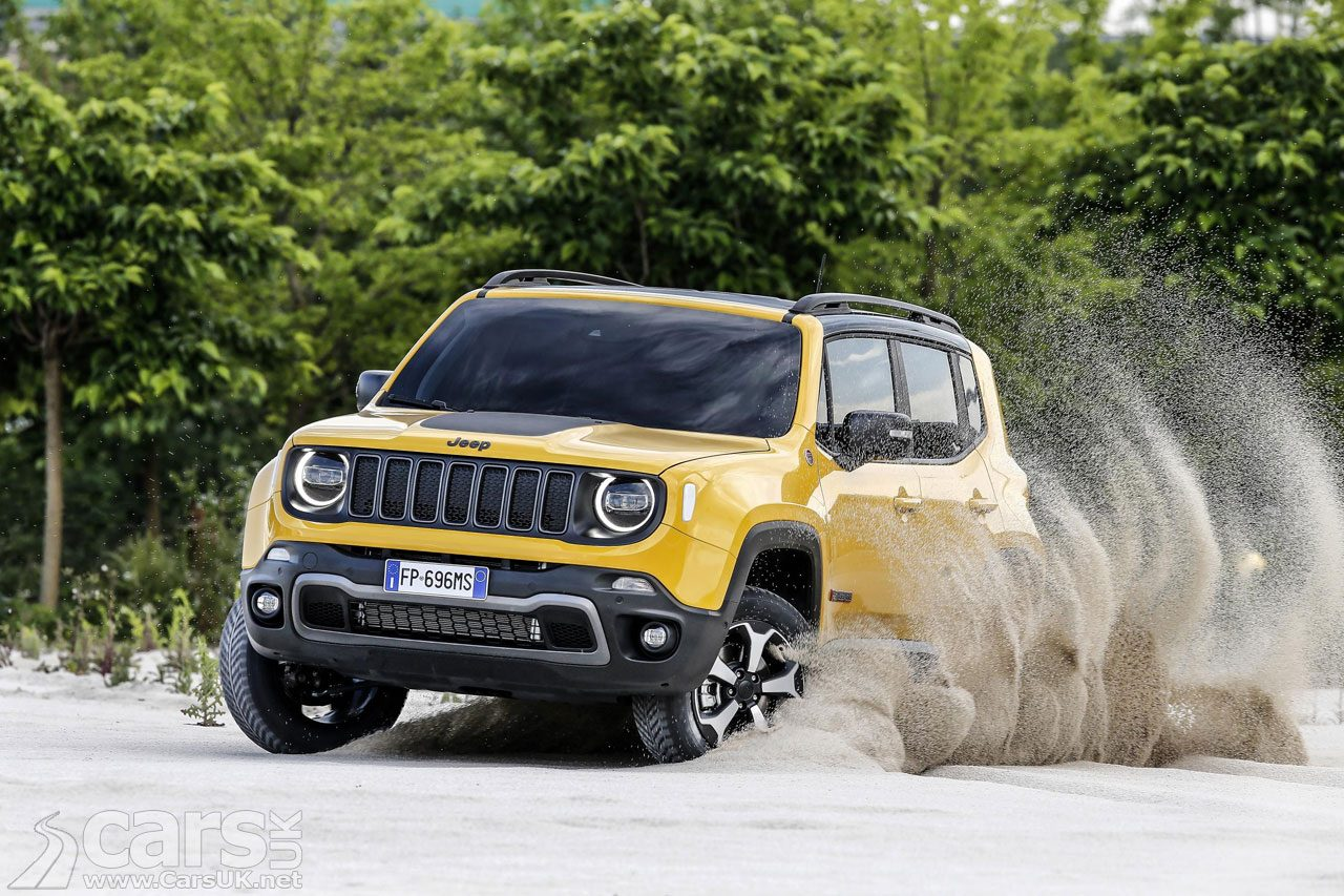 Yellow 2019 Jeep Renegade driving in sand