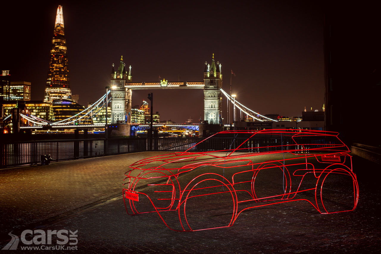2019 Range Rover Evoque debut previewed with wire sculptures