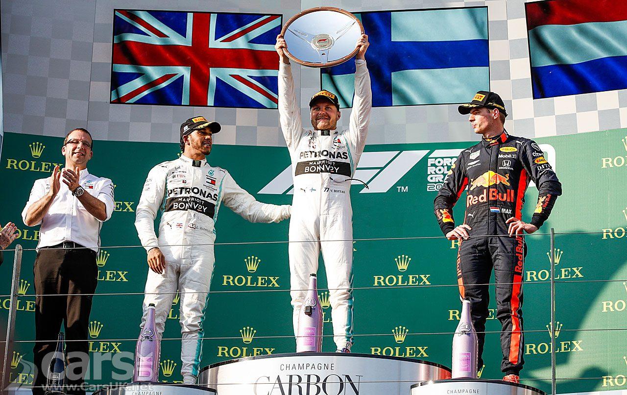 Valtteri Bottas celebrates his win at the 2019 Australian Grand Prix