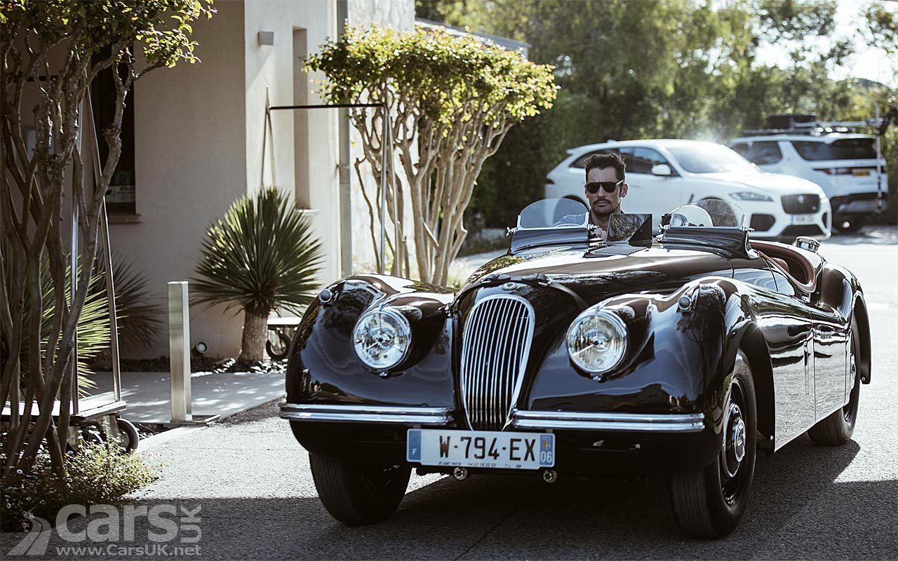 Black 1954 Jaguar XK120 driven by David Gandy