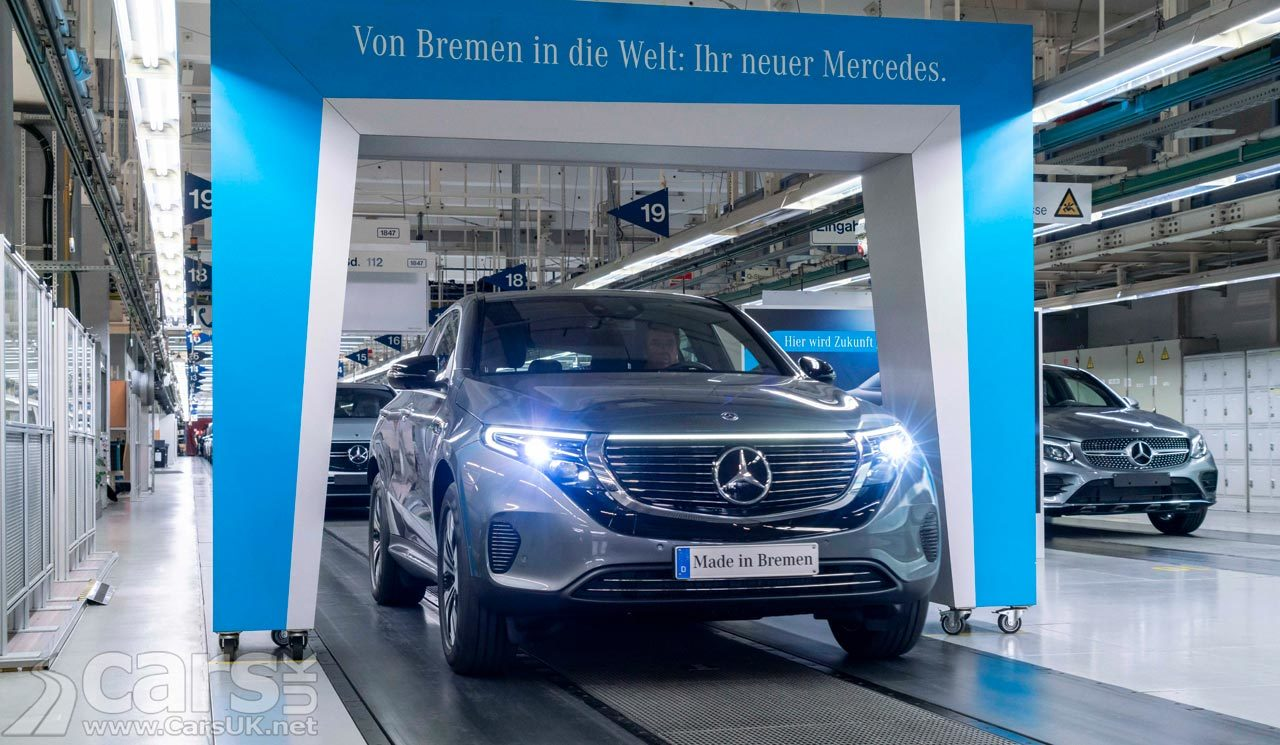 Firts Mercedes EQC SUV coming off the production line