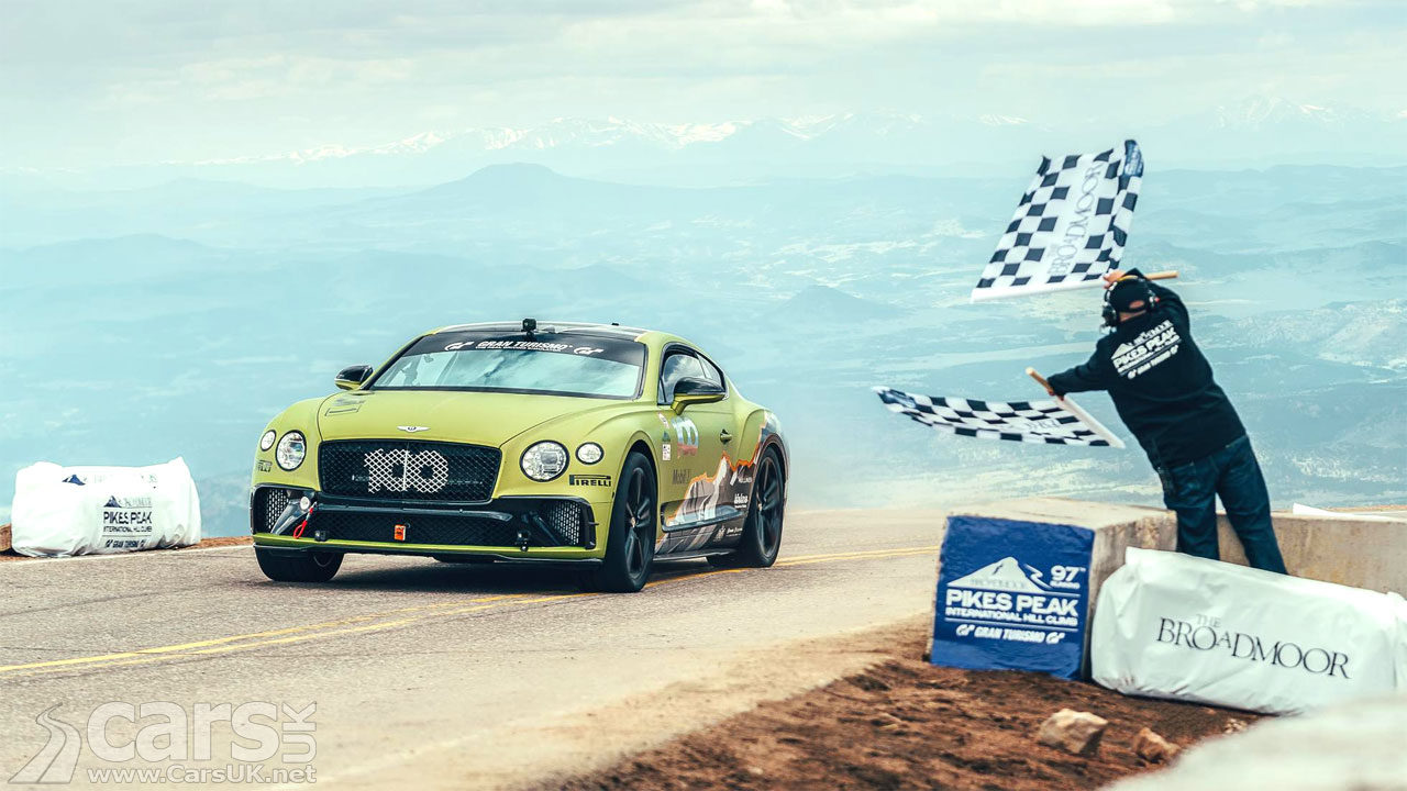 Bentley Continental GT Crosses the line at the top of Pikes Peak