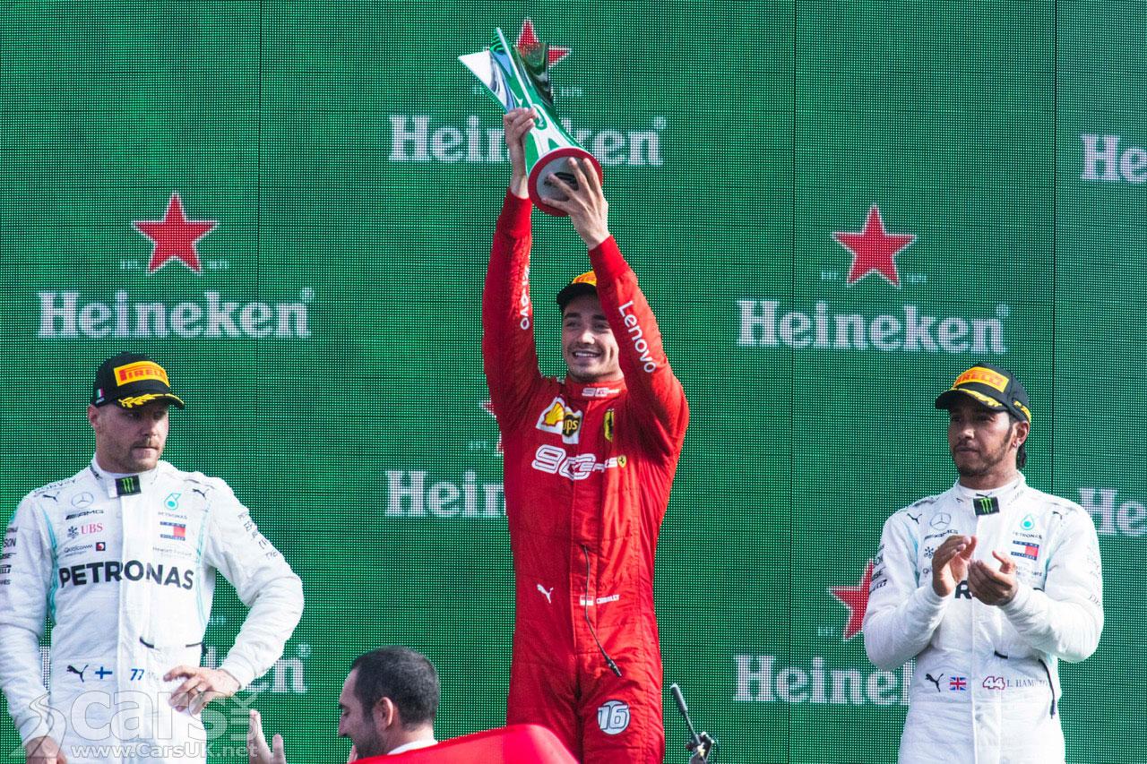 Photo Charles Leclerc celebrating winning the 2019 Italian Grand Prix
