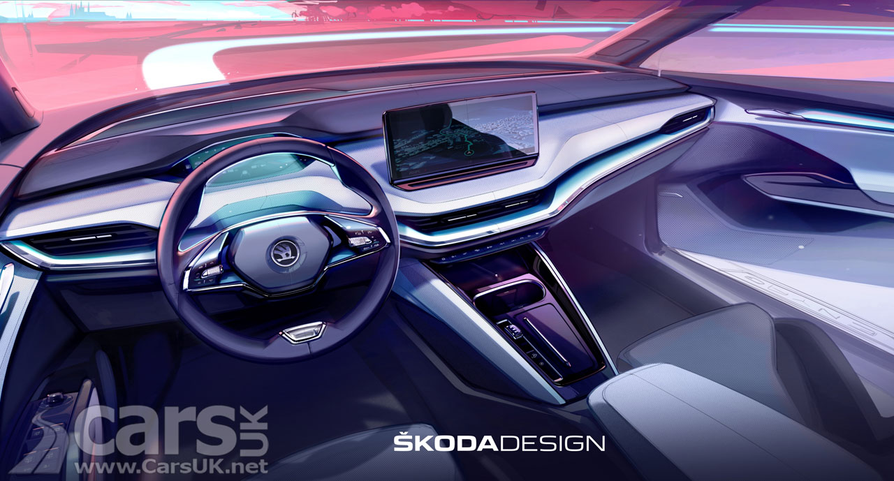 Photo Electric Skoda Enyaq iV interior tease