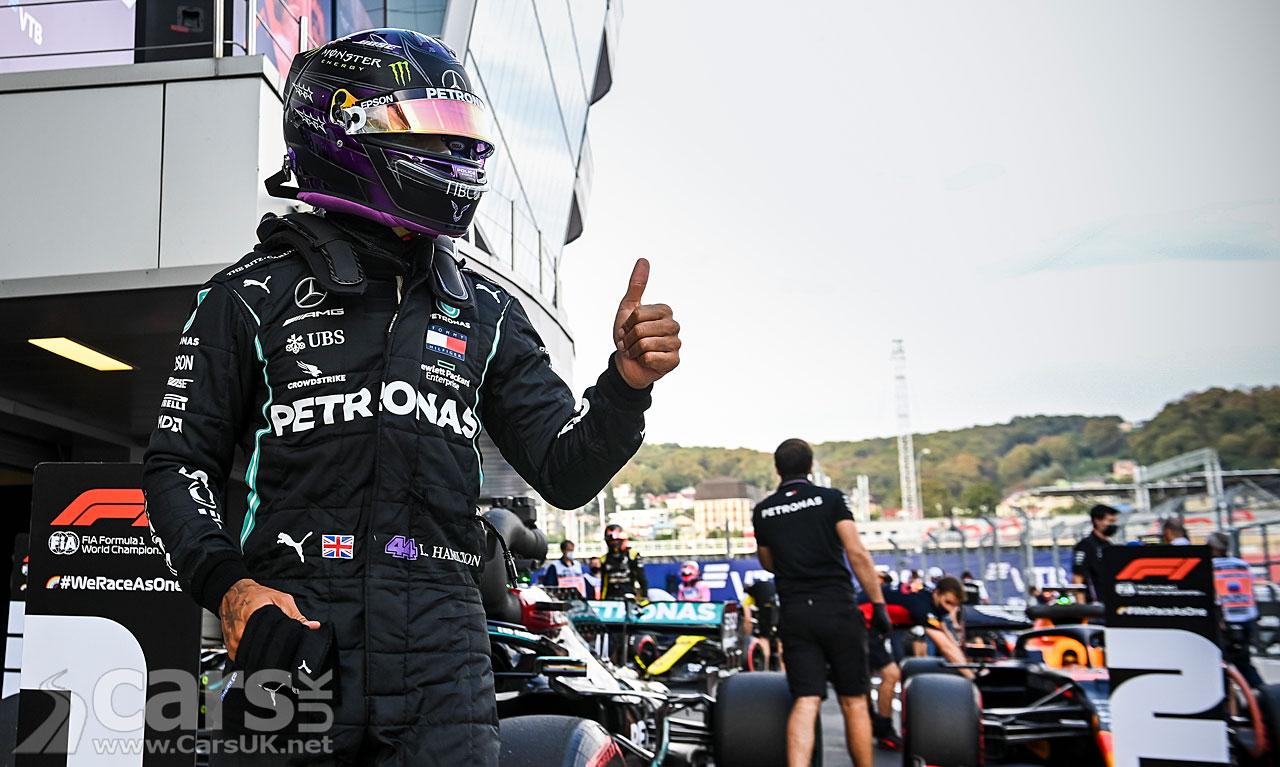 Photo Lewis Hamilton celebrates pole position for 2020 Russian Grand Prix