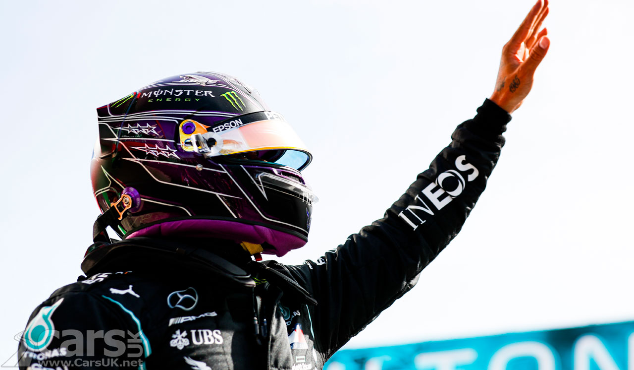 Photo Lewis Hamilton celebrates pole position at 2020 Portuguese Grand Prix